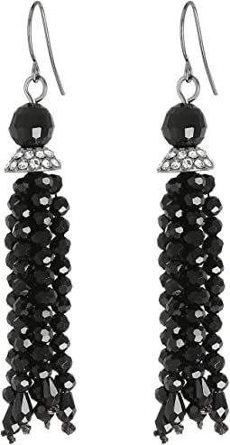 Hide and Chic Faceted Jet Tassel Earrings