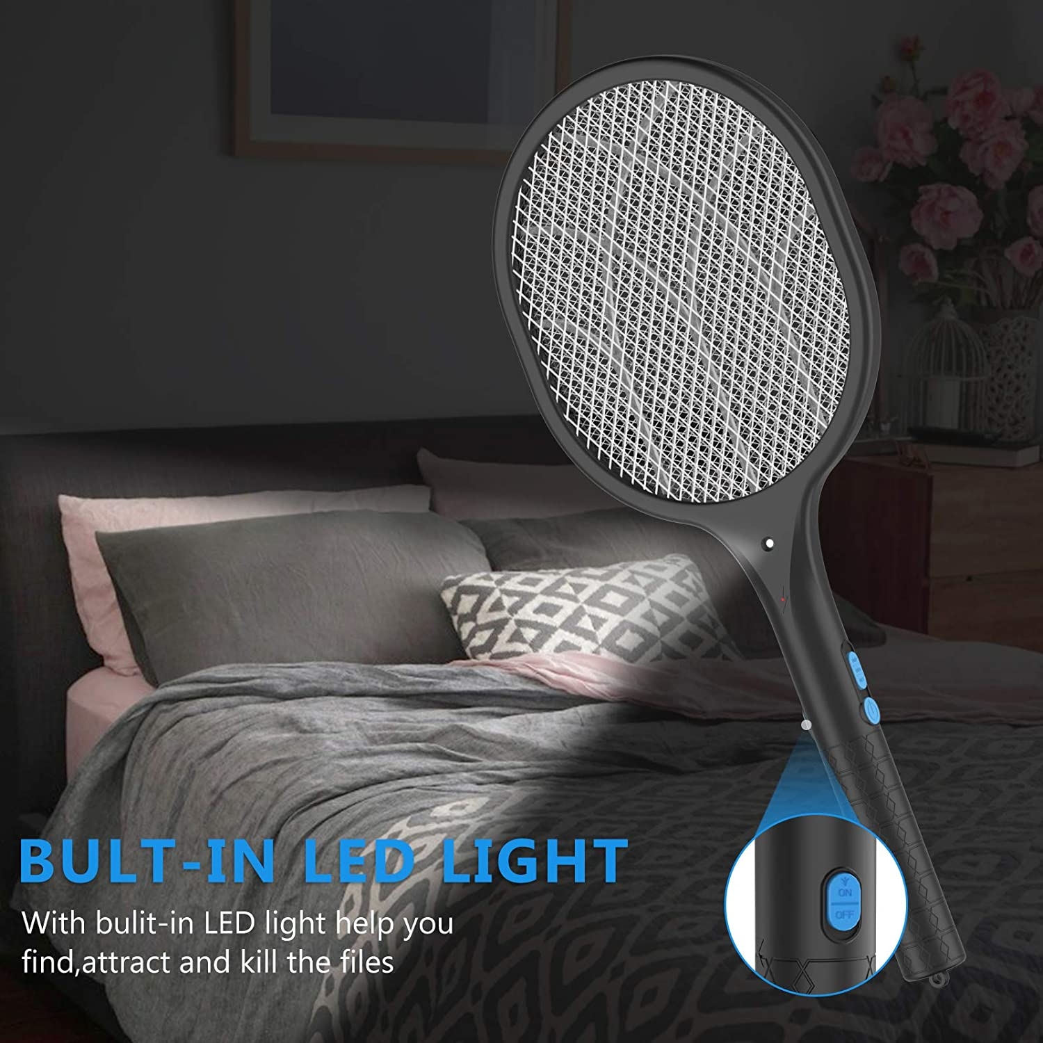 Black BOYON Bug Zapper Mosquito Killer Electric Fly Swatter, Rechargeable Mosquitoes Lamp /& Racket 2 in 1 Handheld Fly Zapper for Home and Outdoor Safe to Touch with 3-Layer Safety Mesh