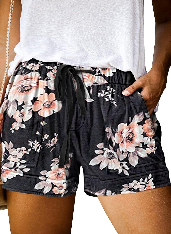 Sidefeel Womens Camo Print Elastic Waist Drawstring Plus Size Summer Casual Shorts 3XL Black