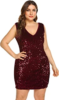 Womens Sequin Dress Plus Size Sexy V Neck Party Cocktail Bodycon Formal Glitter Sleeveless Mini Dresses