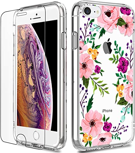 iPhone 8 Case, Clear iPhone 7 Case with Screen Protector, LUHOURI Girls Women Floral Heavy Duty Protective Hard Case ...