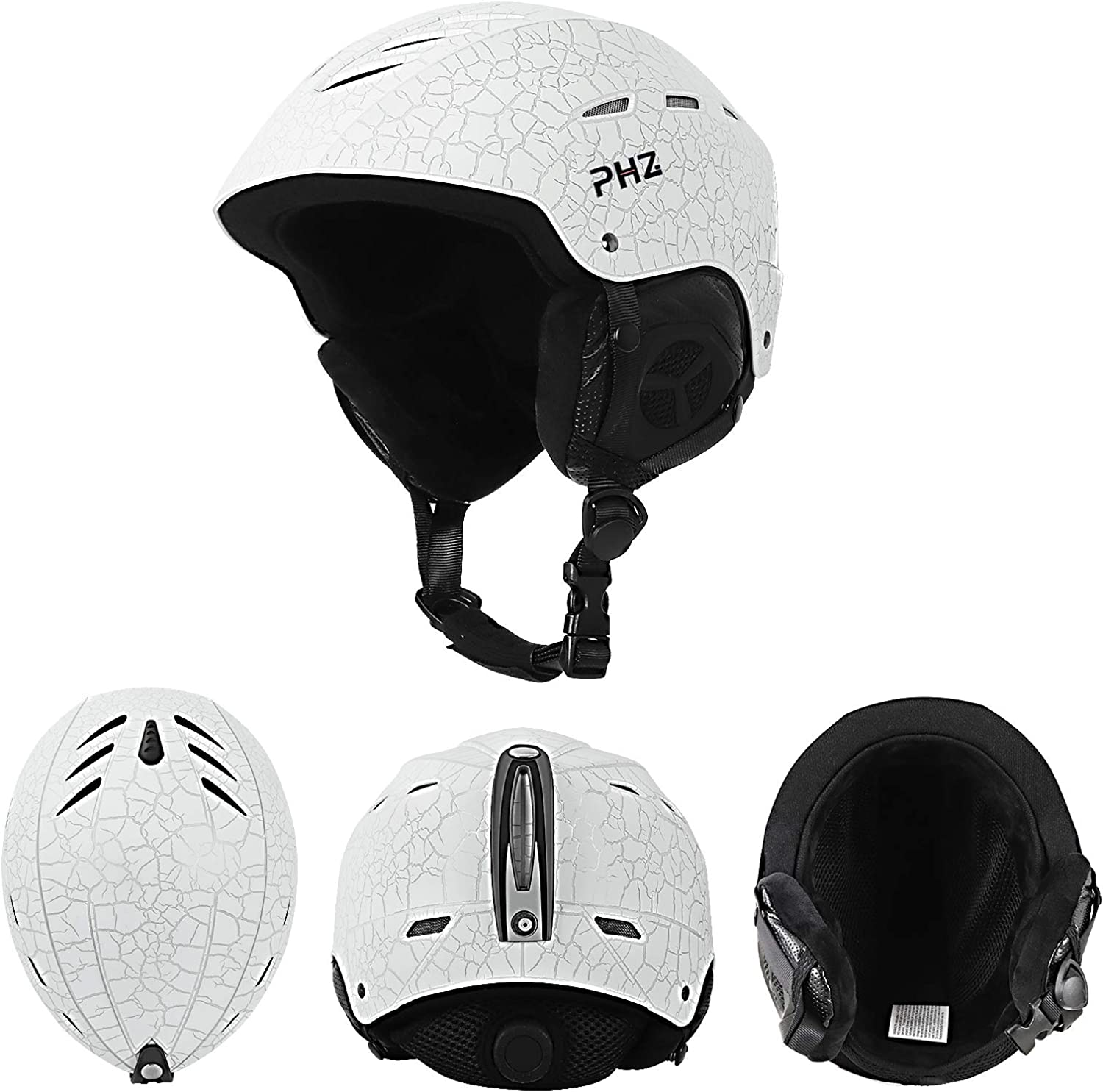 Ski Helmet Snowboard Helmet for Men Women Youth PHZ Goggles Compatible Safety-Certified Snow Sport Helmets Removable Fleece Liner and Ear Pads Performance Safety w//Active Ventilation Dial Fit