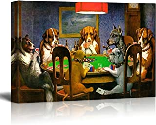 wall26 Pokers Dogs (or Dogs Playing Cards) by C. M. Coolidge - Canvas Print Wall Art Famous Painting Reproduction - 24