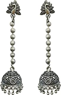 Indian Oxidized Silver Afghani Long Chain Multi color Beads Jhumka/Jhumki Earrings for Women and Girls