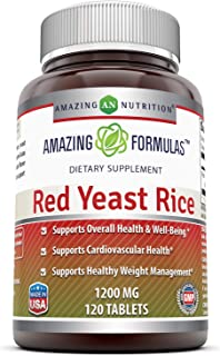 Amazing Formulas Red Yeast Rice Dietary Supplement - 1200mg of Best Quality Red Yeast Rice Powder Per Serving – Supports C...