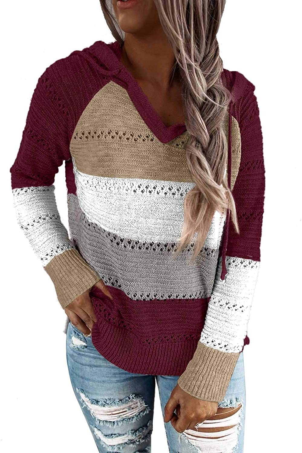 SWQZVT Women's Hoodies V Neck Boho Knit Pullover Color Block Hooded Sweaters Striped Drawstring Jumper with Pocket