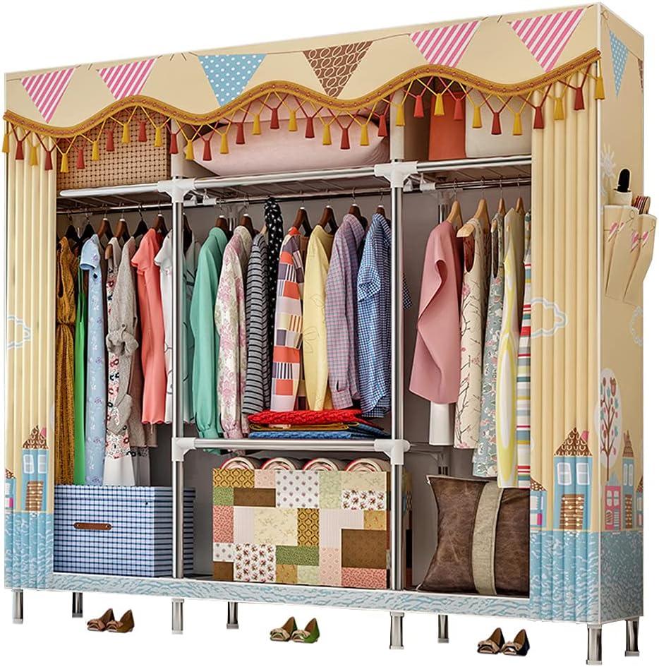 QUMENEY Wardrobe Storage Closet Standing Clothes Ranking TOP17 Portable Shelv Now on sale