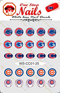 Cubs vinyl Peel and Stick nail decals. Set of 25 stickers with white background V1. (BA21)