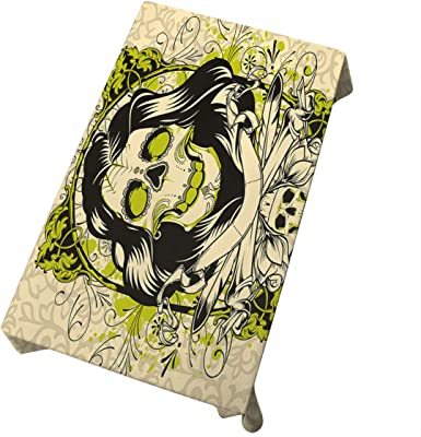 Mugod Skull Tablecloth Skull Love and Hate Dining Room Kitchen Decoration Rectangular Table Cover 60 W X