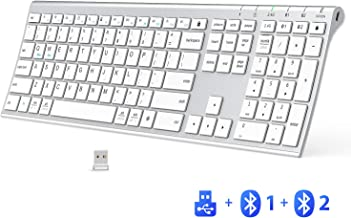 iClever DK03 Bluetooth Keyboard - 2.4G Wireless Keyboard Rechargeable Bluetooth 4.2 + USB Multi Device Keyboard, Ultra-Sli...