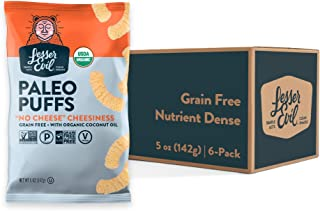 """LesserEvil """"No Cheese"""" Cheesiness Paleo Puffs, No Artificial Ingredients, Grain Free, Vegan, Pack of 6, 5 oz Bags"""