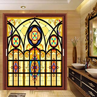 Self Adhesive for UV Blocking Heat Control Glass Stickers,Custom electrostatic Church frosted stained glass window film home foil door glass stickers PVC self-adhesive window films ( 35.4x78.7 Inch )