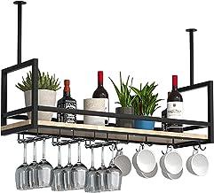 Hangende Opbergrekken Zwart, Plafond Wijnglasrekken, IJzeren Massief Houten Wijnrek, Zwevende Planken Voor Keukenbar-resta...