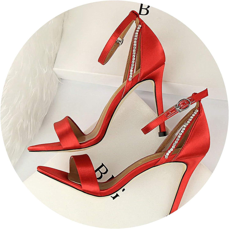 Women Summer 9Cm Fetish High Heels Silk Crystal Red Sandals Lady Strap Satin Pumps Female Sexy Wedding Scarpins Heels shoes