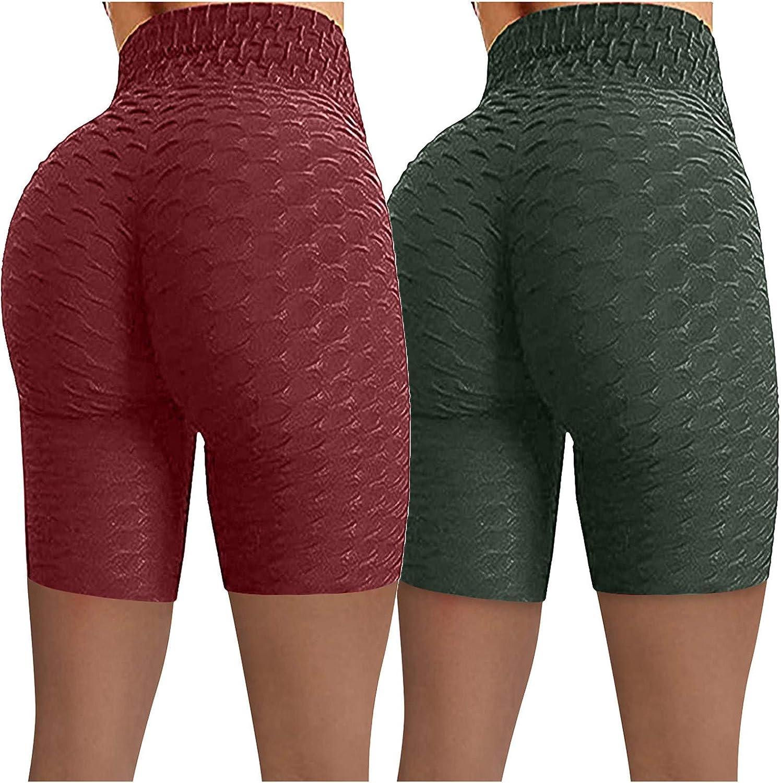 2 Pack Yoga Shorts for Women,Women's Workout Shorts Scrunch Booty Gym Yoga Pants High Waist Butt Lifting Sports Leggings