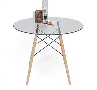 df70faf8 Homely - Mesa de Cocina o Comedor Redonda Tower Vintage Sobre de Cristal de 90  cm