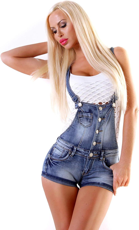 Fashion4Young 4461 Damen Latzhose Hotpants Short Kurze mit Hosenträgern Hot Pants latzjeans 5 Größen Blau