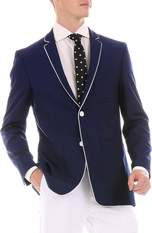 Ferrecci Men's Porter Tuxedo Trim Slim Fit Blazer Jacket with Patch Pockets (Navy, 40 Long)