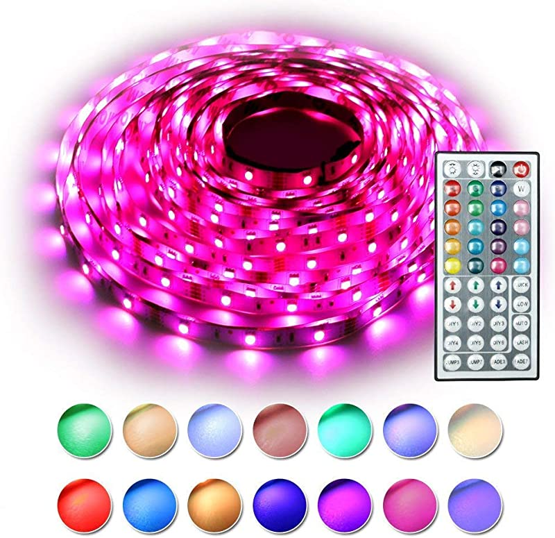 RaThun Led Strip Lights Kit 10M 32 8 Ft 5050 RGB 300 LEDs Flexible Color Changing Full Kit With 44 Keys IR Remote Controller Control Box 12V 5A Power Supply For Home Lighting Decorative UL Listed