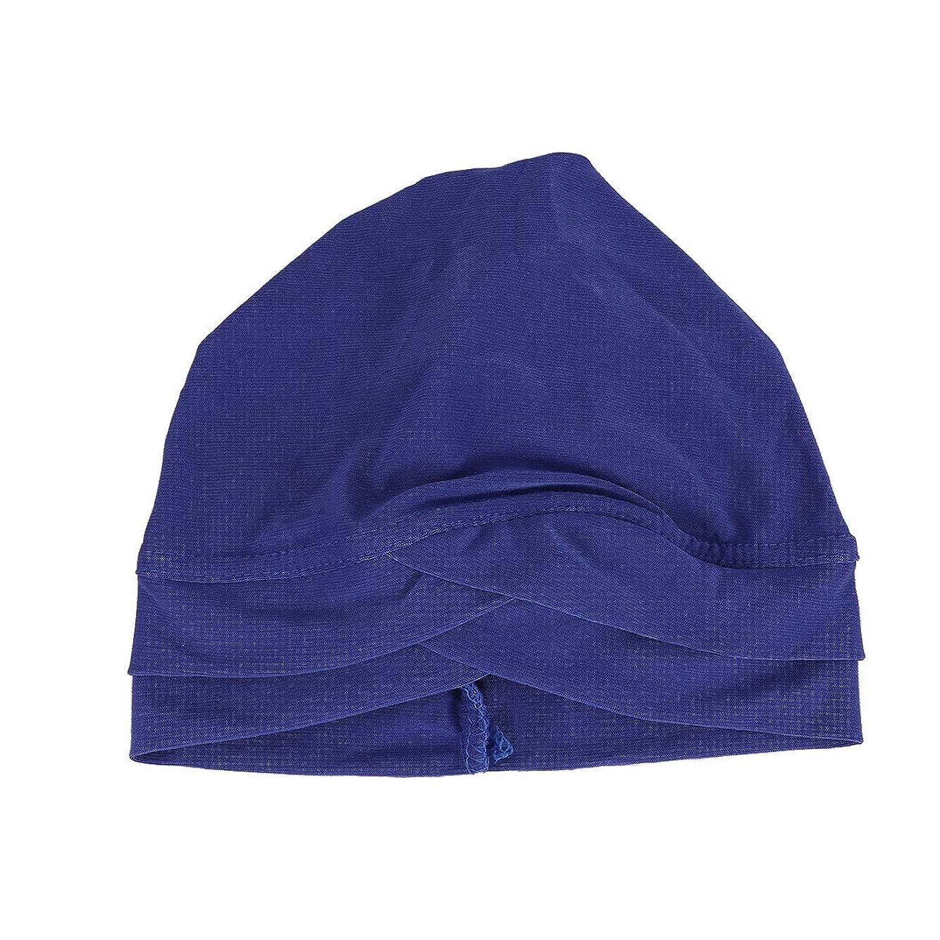 横たわる典型的な純正HEALLILY レディーススリープソフトターバン事前に結ばれたコットンインドケモキャップ額クロスインドハット(ブルー)