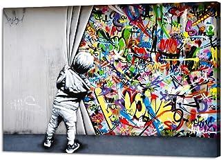 Yatsen Bridge Banksy Street Art Child Colorful Graffiti Posters Printing Pop Artwork Behind The Curtain Graffiti Canvas Pa...