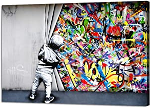Yatsen Bridge Banksy Street Art Child Colorful Graffiti Posters Printing Pop Artwork Behind The Curtain Graffiti Canvas Pa...