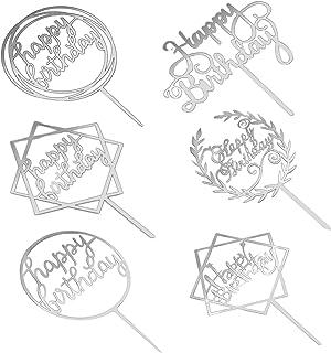 Happy Birthday Cake Topper Accessoires de Décoration,6 Style Topper de Gâteau Acrylique,Topper de Gâteau Glitter, Cupcake ...