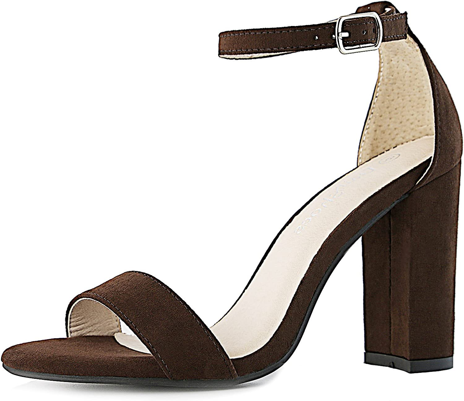 Dailyshoes Women's Women's Chunky Heel Sandal Open Toe Wedding Pumps Buckle Ankle Strap Party Evening shoes