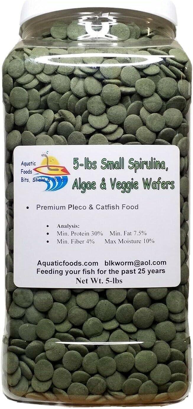 5-lbs Sinking Wafers of Algae & Spirulina for Plecos, Bottom Fish, Catfish, Shrimp, Snails, Crayfish, All Herbivorous and Omnivorous Tropical Fish. Aquatic Foods Premium Sinking Wafers AFI 5-lb-Jar