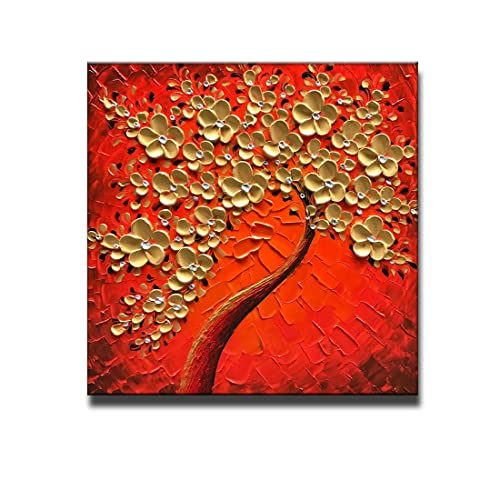 Okbonn Hand Painted Art Canvas Wall Red And Gold Floral Tree Oil Painting For Living