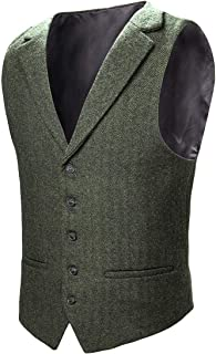 Mens Herringbone Tailored Collar Waistcoat Fullback Wool Tweed Suit Vest
