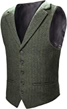 VOBOOM Mens Herringbone Tailored Collar Waistcoat Fullback Wool Tweed Suit Vest