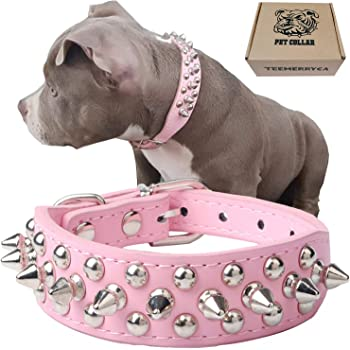 teemerryca Adjustable Microfiber Leather Spiked Studded Dog Collars with a Squeak Ball Gift for Small Medium Large Pets Like Cats/Pit Bull/Bulldog/Pugs