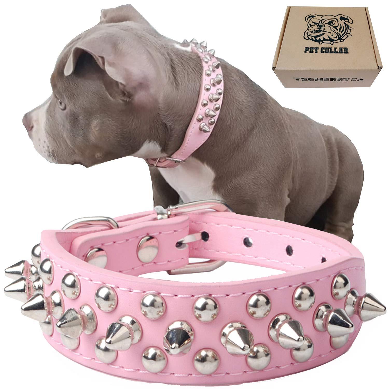 teemerryca Leather Collars Bulldogs Adjustable
