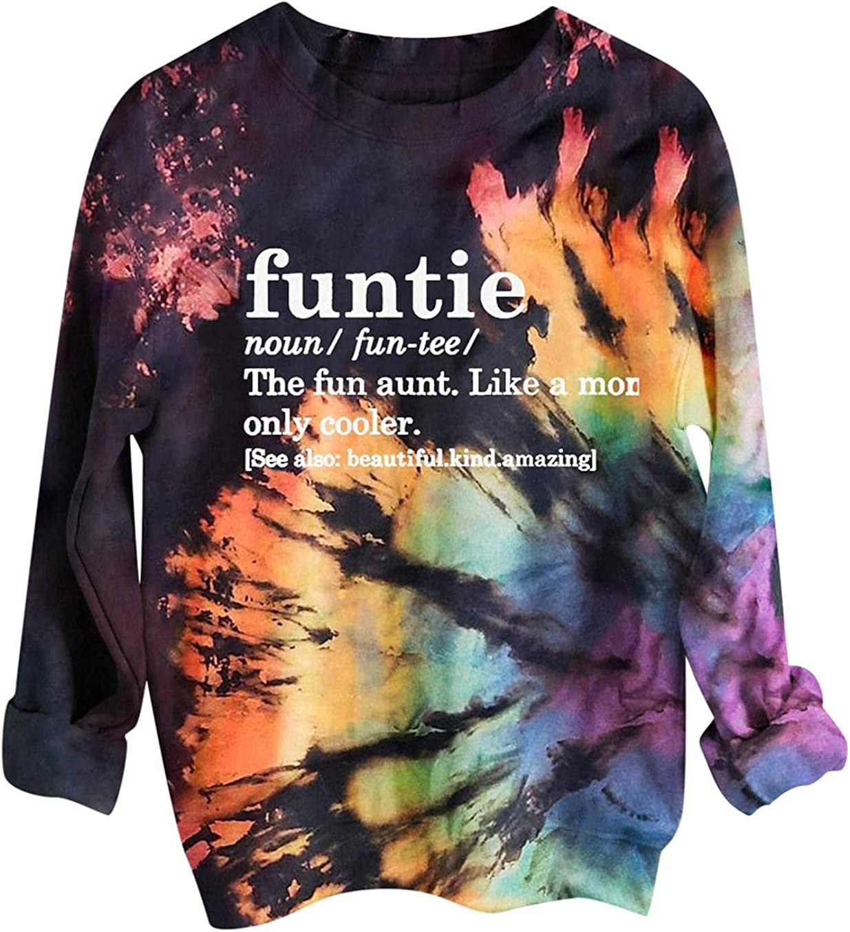 AODONG Long Sleeve Shirts for Womens Outer Banks Graphic Loose Casual Crewneck Tie Dye Print Sweatshirts Pullover Tops