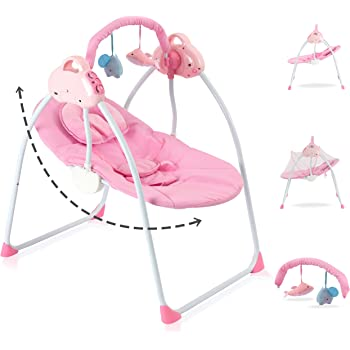 Portable Infants Rocker Swings Chair with Music Automatic Rocking Bouncer for Baby Boys and Girls-Calming Vibration Shipping from USA, Multicolour Baby Swing Cradle