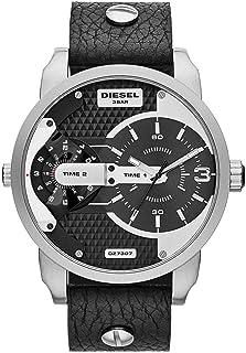 ساعة ديزل ميني دادي سوداء للرجال بسوار من الجلد - DZ7307