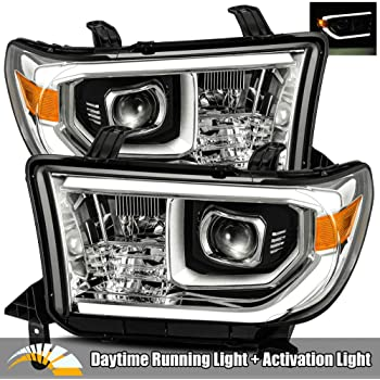 Pair LED Bumper Built-In DRL Fog Lights Driving Lamps For 2007-13 Toyota Tundra