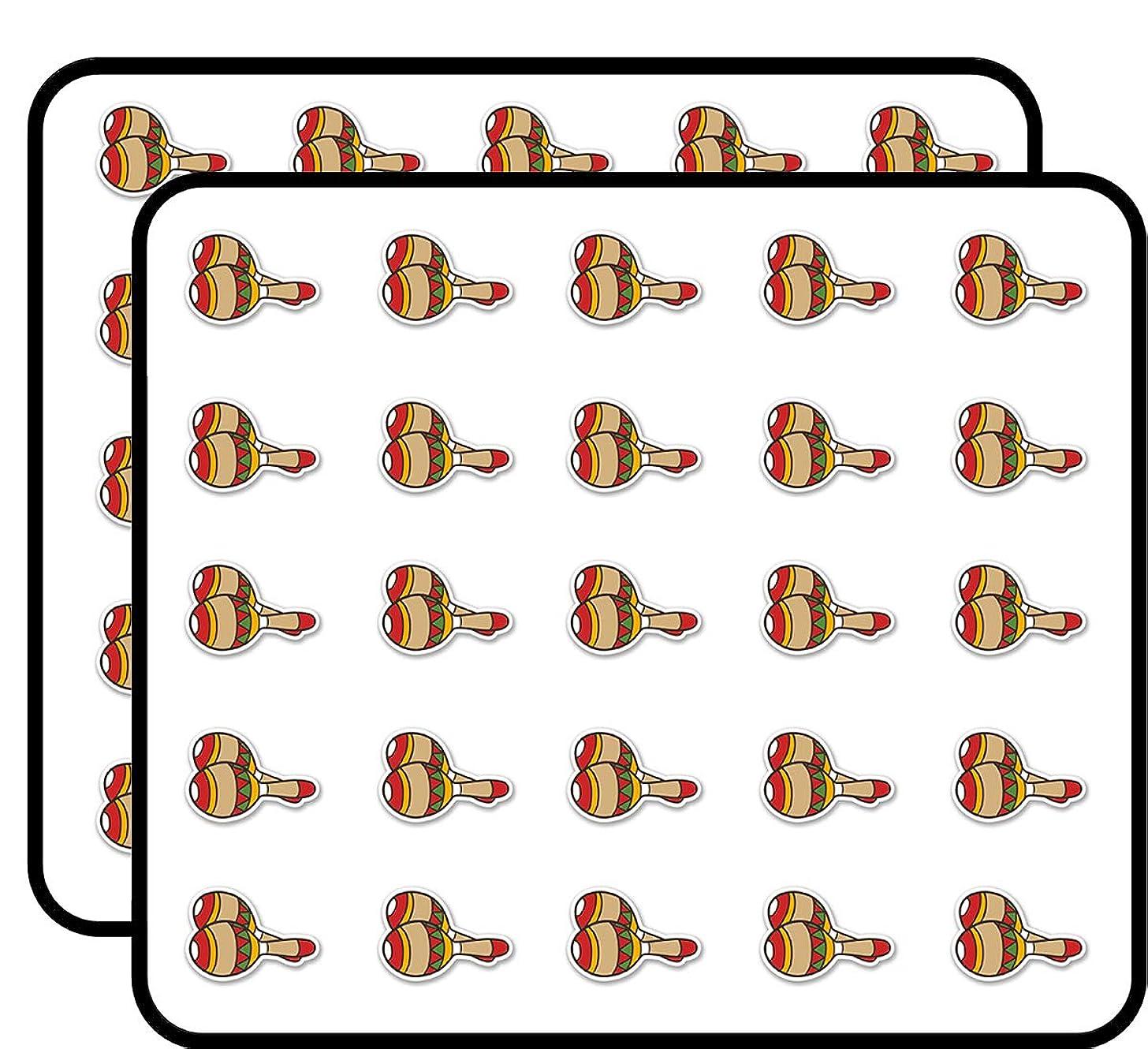 Mexican Maracas Sticker for Scrapbooking, Calendars, Arts, Kids DIY Crafts, Album, Bullet Journals 50 Pack