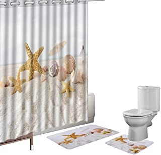Amagical 15 Pieces Seashells Starfish Design Shower Curtain Set Bathroom Mats Set Non-Slip Rug Carpet Shower Curtain and 12 Hooks