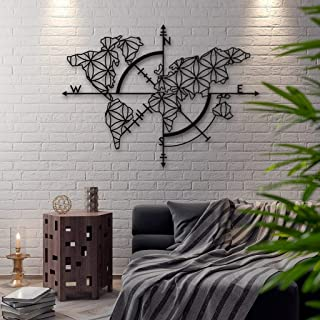 Northshire Metal Wall Decor Art World Map of Life, Textured, Black Powder Coated