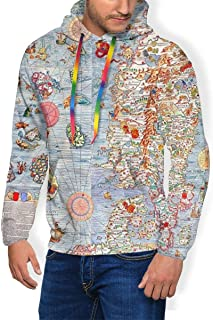 Carta Marina Sea Monster Map Hoodie Men's, Pullover Hooded Shirt