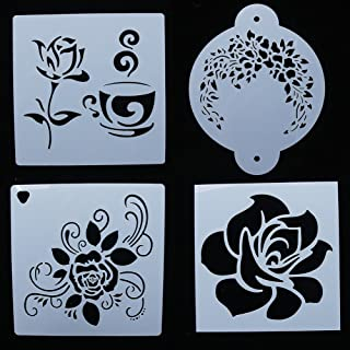 NUOMI Flower Painting Stencils Plastic Set of 4 Baking Stencils Cake Decorating Templates, Reusable Kids' Art Craft Tools, DIY Birthday Cake Spray Molds 6 Inch