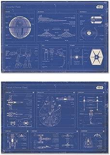 Star Wars - Movie Poster Set (Imperial Fleet & Rebel Alliance Fleet Blueprints/Schematics - Horizontal) (Size: 36 inches x 24 inches)