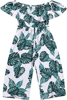 طفل بنات أطفال بنات بالم ليف واسعة الساق بذلة كشكش بدون كتف رومبير أزياء هاواي