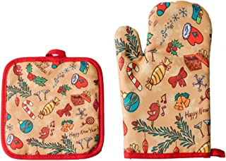 JUACH Oven Mitt and Pot Holders One Side Printed Heat Insulation Coating (Christmas-1)