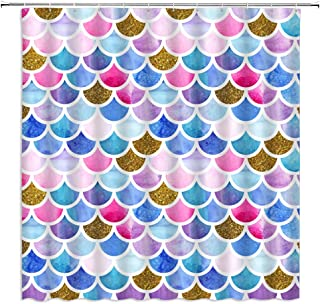 AMFD Mermaid Shower Curtain Fairytale Colored Fish Scale Dream Fantasy Geometric Pattern Bathroom Curtains Decor Polyester Fabric Waterproof 70 x 70 Inches Include Hooks