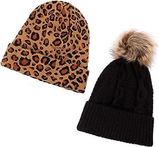 PHALIN 2Pack Knitted Beanie Hats Leopard Slouchy Hats Baggy Pom Winter Skull Ski Cap