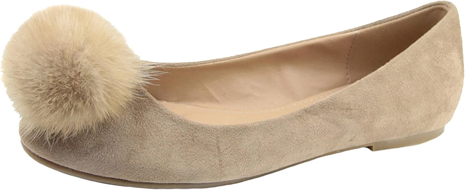 Anna shoes Women's Pom Pom Slipper Fashion Ballet Flat