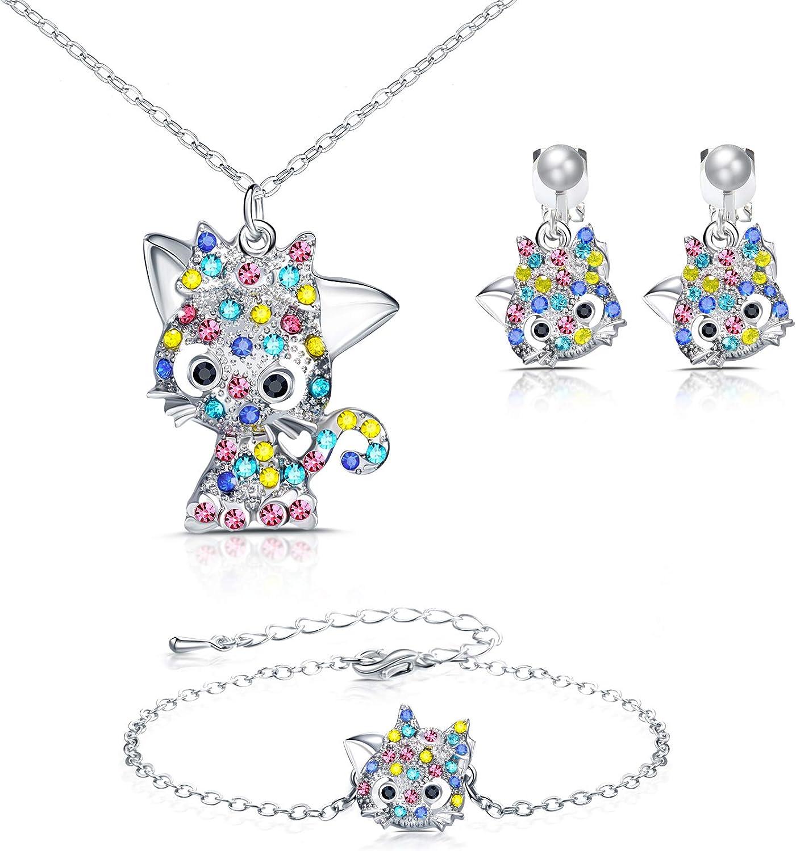 Cat Pendant Jewelry Girls Necklace Earrings Bracelet Set for Women Cat Animal Lovers